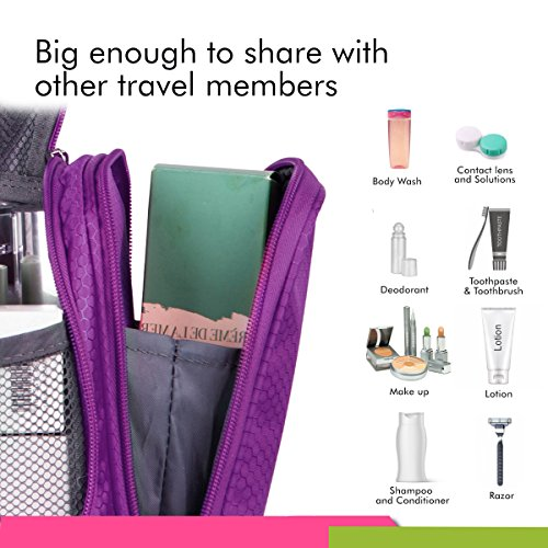 Bago Travel Toiletry Bags for man woman & kids – 100% SATISFACTION GUARANTEED. Hanging Toiletries Bag or for Home. Multi Pockets & High Quality Zippers. Perfect for Cosmetics Shaving & Personal Care (Purple)