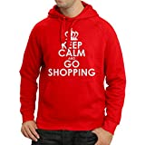 N4579H Kapuzenpullover Keep Calm and Go Shopping! (Medium Rot Weiß)