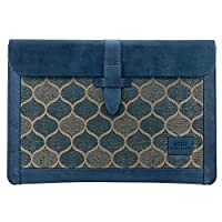 Londo OTTO187 Hakiki Deri ve Dokuma Kumaş Macbook Pro 13 İnç Uyumlu Kılıf 13 inç, Mavi