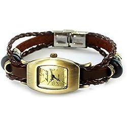 Armbanduhren Quarz Analog Arabisch Ziffern Leder Modeschmuck Uhr Damen Tonneau Pucks Moli 8 Braun Geschenk Damen