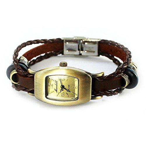 Mes-Bijoux-Bracelets Orologio da polso quarzo Tonneau Cuoio Numeri arabi Gioielo donna Piastrelle Marron wz-M0015