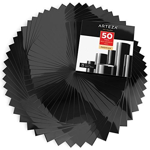 ARTEZA Láminas vinilo adhesivo | Color negro brillante
