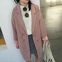 &zhou Doppio petto cappotto di lana lungo in un inverno sciolto. femmina sottile panno di lana spessa cappotto. windbreaker. vestiti di inverno , light pink
