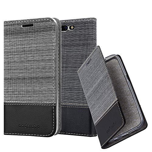 Cadorabo Hülle für Xiaomi Black Shark - Hülle in GRAU SCHWARZ – Handyhülle mit Standfunktion und Kartenfach im Stoff Design - Case Cover Schutzhülle Etui Tasche Book