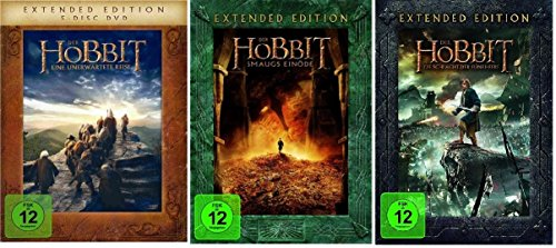 DVD Set * Der Hobbit Trilogie Teil 1+2+3 je Extended Edition * (Eine unerwartete Reise+Smaugs Einöde+Die Schlacht der fünf Heere) (Hobbit Eine Unerwartete Reise Dvd)