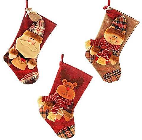 Outgeek 3pcs Weihnachtsstrümpfe Süßigkeiten Taschen hängen, denn Weihnachten Dekorationen 18