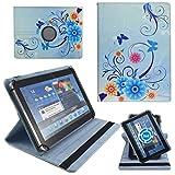Blaue Blumen Tablet Schutz Hülle Etui Tasche für 10 Zoll Jay-Tech / CANOX Tablet PC 101