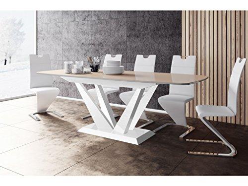 TABLE A MANGER DESIGN EXTENSIBLE 160÷260 CM X P : 89 CM X H: 75 CM – CAPPUCCINO