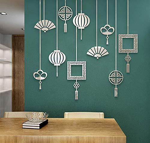 130 * 127 Cm Kreative Fan Laterne Chinese New Year Chinesischen Stil Chinesischen Knoten Acryl 3D Wandaufkleber Wohnzimmer Schlafzimmer Dekoration Silber