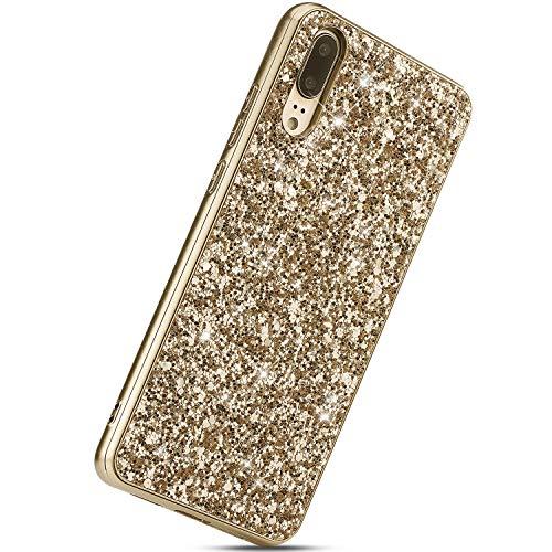Herbests Kompatibel mit Huawei P20 Handyhülle Luxus Glitzer Bling Sparkle Kristall Strass Diamant Schutzhülle Weiche TPU Bumper Silikon Hülle Case Handytasche Ultradünn Cover,Gold