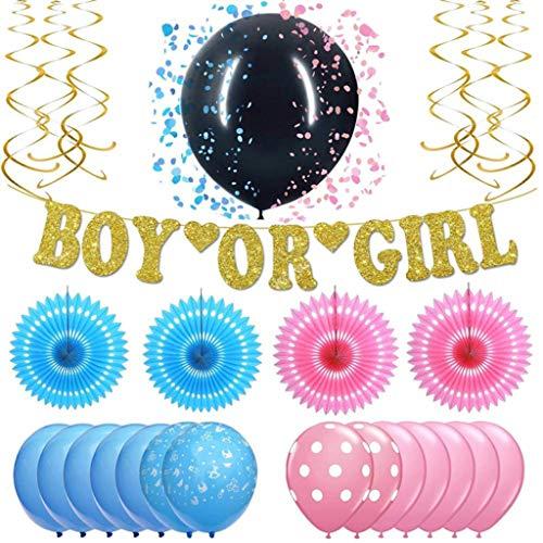 Amycute Gender Reveal Party Dekoration Babyparty Geschlecht Offenbaren Baby Deko mit Jungen oder Mädchen Banner Tissue Pom Poms Folie hängende Swirl Dekorationen Foto Requisiten.