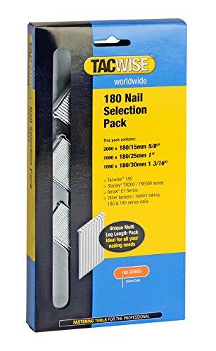 Tacwise clavos de 180 - Caja de 4000 clavos de 15, 25 y 30 para clavadoras automaticas y neumaticas