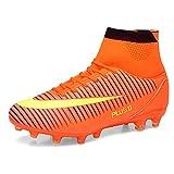WOWEI Scarpe da Calcio Spike Tacchetti Professionale Scarpe Sportive Adulti Unisex Teenager Scarpe da Allenamento,Arancione,EU39