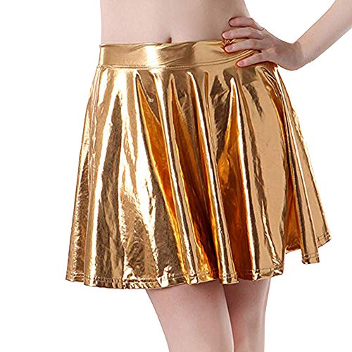 ♥ Loveso♥ Frauen Röcke Party Röcke Shiny Metallic Dancewear Hohe Taille Kurz Mini Faltenrock Gold-metallic-rock