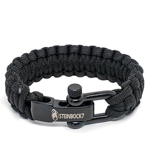 Steinbock7 Paracord Survival Armband, Schwarz, Edelstahl Verschluss Einstellbar, Inklusive Anleitung zum Flechten