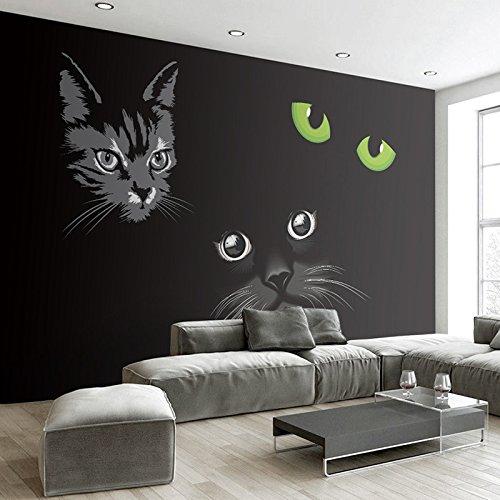 MuralXW Fototapete Persönlichkeit Schwarze Katze Katzenaugen Moderne 3D Wohnzimmer Sofa TV Hintergrund Halle Fresko Tapete Wandverkleidungsrolle-200x140cm