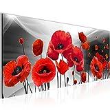 Bilder Blumen Mohnblumen Wandbild 100 x 40 cm Vlies - Leinwand Bild XXL Format Wandbilder Wohnzimmer Wohnung Deko Kunstdrucke Grau 1 Teilig -100% MADE IN GERMANY - Fertig zum Aufhängen 208912c