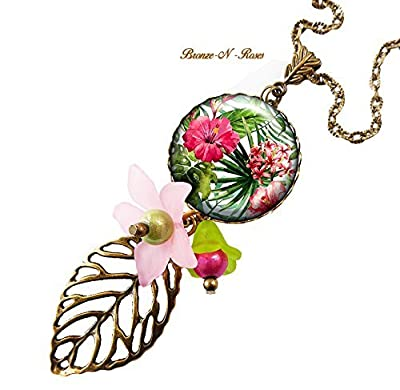Sautoir * Fleurs tropicales * cadeau bijou fantaisie vert rose collier verre