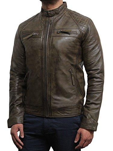 Brandslock Herren Leder Biker Jacke Braun 100% Echtes Leder (XL, Braun) (Leder A2 Braun)