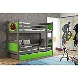 JUSThome LEON Cama juvenil infantil Litera con cajones (LxBxH): 190x85x150 cm Gris Grafito Verde