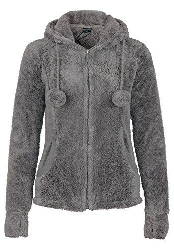 Stitch & Soul Damen Teddy Fleecejacke mit Kapuze und Öhrchen | Warme Flauschjacke mit hohem Kragen, Größe:L, Farbe:Light Brown