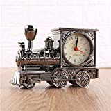 XXBF Mini Trenes Alarma Relojes Antiguos Tren Locomotora De Cuarzo Despertador para Regalo Inicio