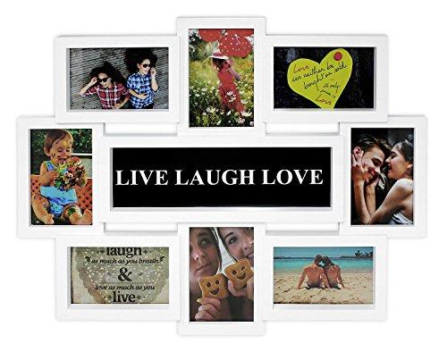 Close Up® 3D Fotorahmen LIVE Laugh Love für 8 Fotos- Qualität Collage Bilderrahmen - ca. 56 x 44 x 2 cm - weiß