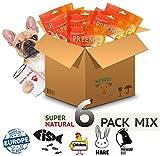 6er mix pack Hundeleckerli Hunde Snack Kausnacks hund 100% natural top mit dental sticks hundefutter   Dörrfleisch Rinderohren Büffelstrossen Kaninchenohren RINDERLUNGE Rinderstrossen Trockenfisch