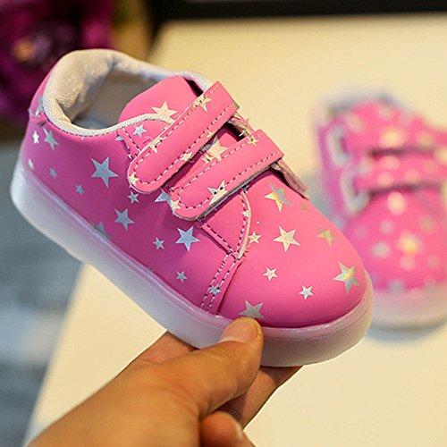 Baby Art und Weise Schuhe LED leuchtendes Kind Kleinkind beiläufige bunte helle Schuhe kingko weiches Handgefühl Sehr gut geeignet für 1 bis 6 Jahre alte Kinder Rosa