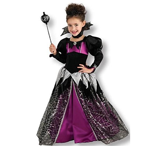 Kind Kostüm Queen Spider - Boo Spider Queen Kids Kostüm Deluxe Fasching Halloween Karneval Kleid + Halskrause (104-116)