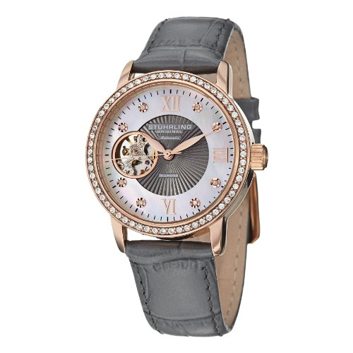 Stuhrling Original Damen 710.04 Automatik-Selbst Wind Rose Gold Swarovski Kristall gefüllte Lünette Perlmutt Open-Heart Dial 8 Diamant-Akzente Grau Echtes Leder genäht Uhrenarmband