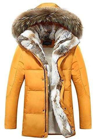 SZYYSD Herren Daunenmantel 90% Daunen Daunenjacke Kunst Fellkapuze lang Parka Luxurious Fur Jacket Rex Fur Collar (EU/DE XX-Small,