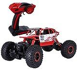 SKM ferngesteuertes Auto Skala 1:18 RC 4WD Offroad Geländewagen als Spielzeug 2,4 GHz (Rot & USB Kabel)