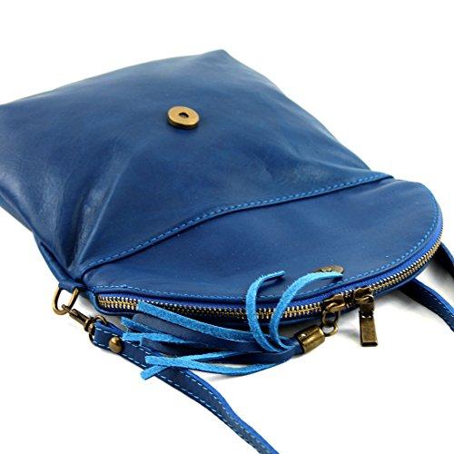 Pochette In Pelle Con Tracolla Di Pelle Modamoda. Piccola Nappa T07 Blu