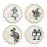 Talking Tables Truly Alice in Wonderland; Pappteller für Geburtstage, Hochzeiten, Teekränzchen und Partys, Verrückte Hutmacher-Party, Cremefarben und Gold, Vintage-Stil, 23 (12 pro Pack in 4 Designs)