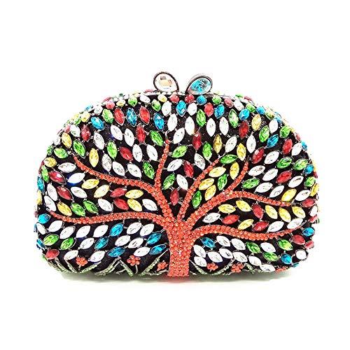 LIZONGFQ Frauen Handgemachte Blume Edelstein Abendtasche Mini Geldbörse Mit Strass Braut Hochzeit Party Handtasche,Blackcolor -