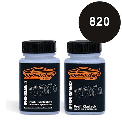 Preisvergleich Produktbild TRISTARcolor Autolack Lackstift Set Landrover 820 Santorini Black Metallic Basislack Klarlack je 50ml