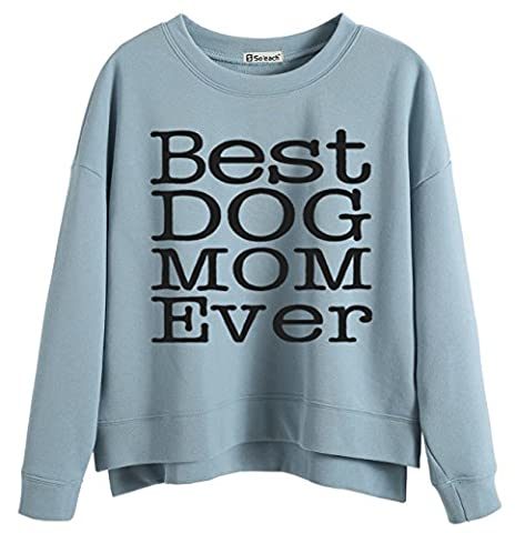 So'each Women's Best Dog Mom Graphic Printed Sweatshirt Pullover Tops