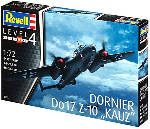 Revell Modellbausatz Flugzeug 1:72 - Dornier Do17 Z-10 Kauz im Maßstab 1:72, Level 4, originalgetreue Nachbildung mit vielen Details, 03933
