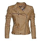 Softy Damen Lederjacke in 30 Farben Biker Style 0508 Vegan Leder, Größe:36, Farbe:washed camel