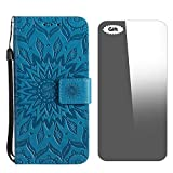 Galaxy S4 Mini Hülle, Conber Lederhülle Handyhülle mit [Frei Schutzfolie], PU Tasche Leder Flip Case Cover Vintage Emboss Sonne Totem Schutzhülle für Samsung Galaxy S4 Mini - Blau