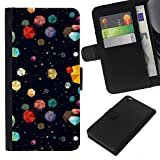 Graphic4You COLORFUL ASTEROIDS Muster Brieftasche Leder