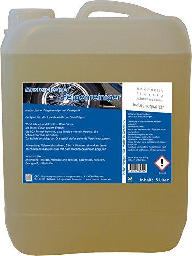 Mastercleaner Felgenreiniger Konzentrat 5 Liter. Der Felgenreiniger mit Orangenöl für Alufelgen Chromfelgen Stahlfelgen ohne Säure