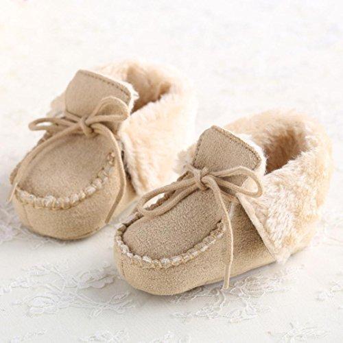 Ouneed® Krabbelschuhe , 0-18 Monate Baby weiche Sohle Krippe Warm Knopf Wohnungen Cotton Boot Beige