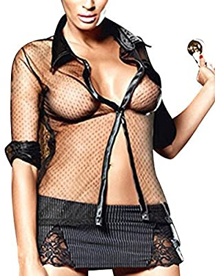 Ladies 3 Piece Super Sexy Black See Through Blouse Black & White Stripe Skirt & G String Set Size 8-12