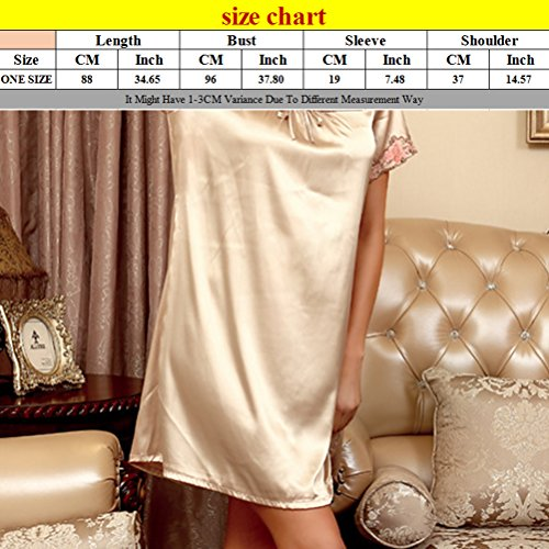 Zhhlinyuan Sexy Women's Summer Silk Nightgown Comfortable Sleepwear One size Coral Red