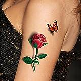 Soxid(TM) 3D-Rosentattoo zum Aufkleben auf Hand, temporäre, wasserdichte Tattoo-Aufkleber für den Körper, Frauen-3D-Tattoo, 1 Stück