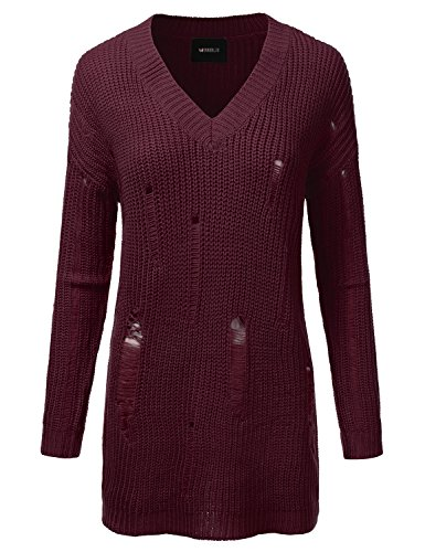 Doublju Oversized Cable Knit Longline Distressed Sweater Dress For Women BURGUNDY LARGE (Knit Distressed)