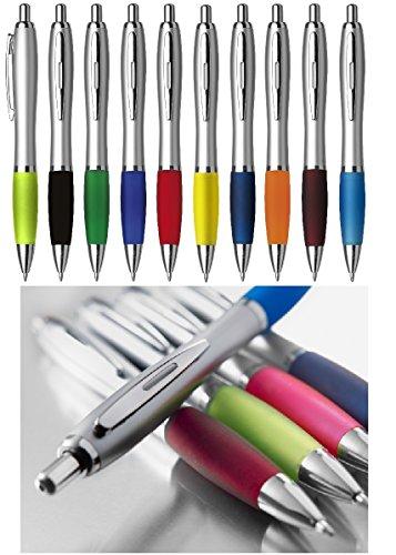 Kugelschreiber 10 Stück Cardiff mit blauer Mine Softgriff und Metallclip ergonomischer dicker Griff Neu Neutral Kulli ohne Gravur Druck Logo im 10er Set von notrash2003®