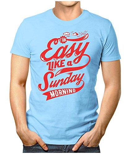PRILANO Herren Fun T-Shirt - EASY-SUNDAY - Small bis 5XL - NEU Hellblau